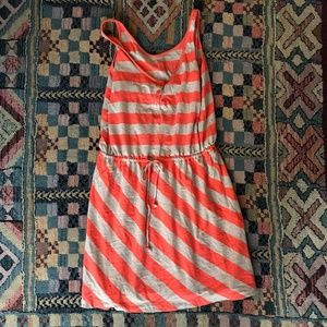 Beige and Coral Striped Casual Dress